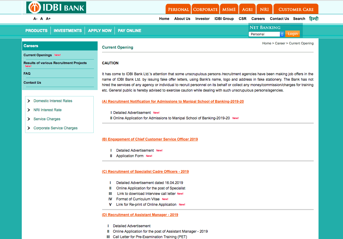 online application form for idbi bank 2014