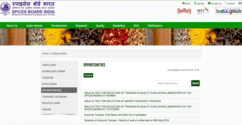 Spices Board Recruitment 2019: Invites Application for