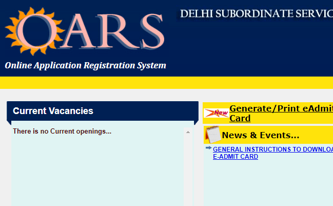 DSSSB 2019 Admit Card