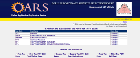 DSSSB Admit Card 2019