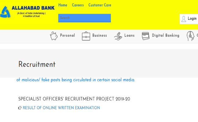 Allahabad Bank SO Recruitment Result