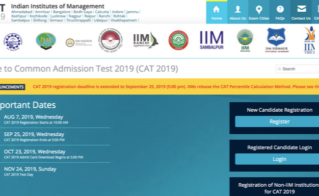 CAT 2019 Registration Date