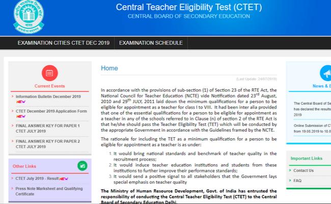 CBSE CTET 2019 Registration
