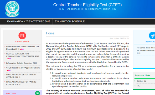 CTET 2019 Registration Date Extended