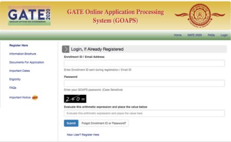 GATE 2020 Online Application