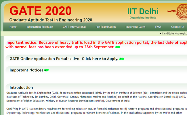 GATE 2020 Registration Date Extended