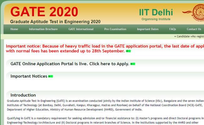 GATE 2020 Registration Date Extended