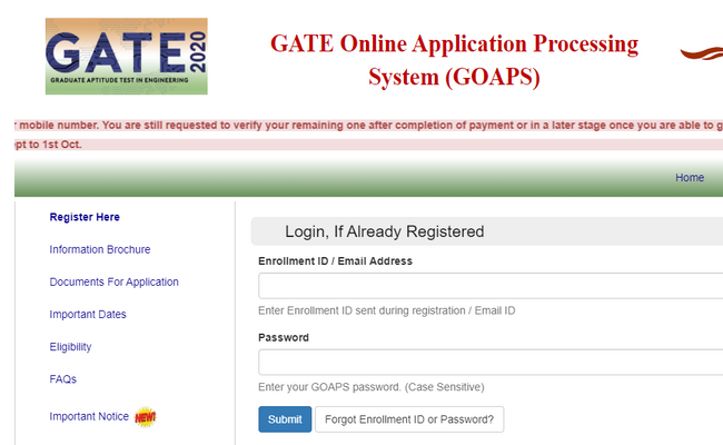 Gate 2020 Registration Date