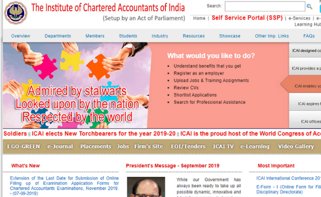ICAI CA 2019 Registration Date Extended