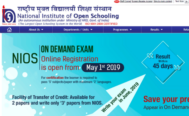 NIOS 2019 Date sheet Released Today – PaGaLGuY