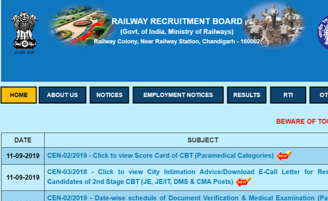 Railways Recruitment Board NTPC 2019 Scheduled