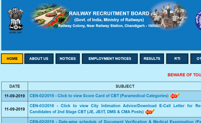 RRB NTPC 2019 Admit Card