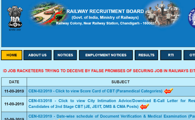 RRB Paramedical 2019 Score Card