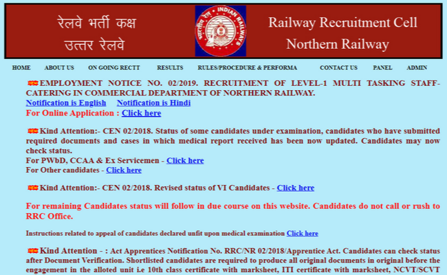 RRC MTS Recruitment 2019