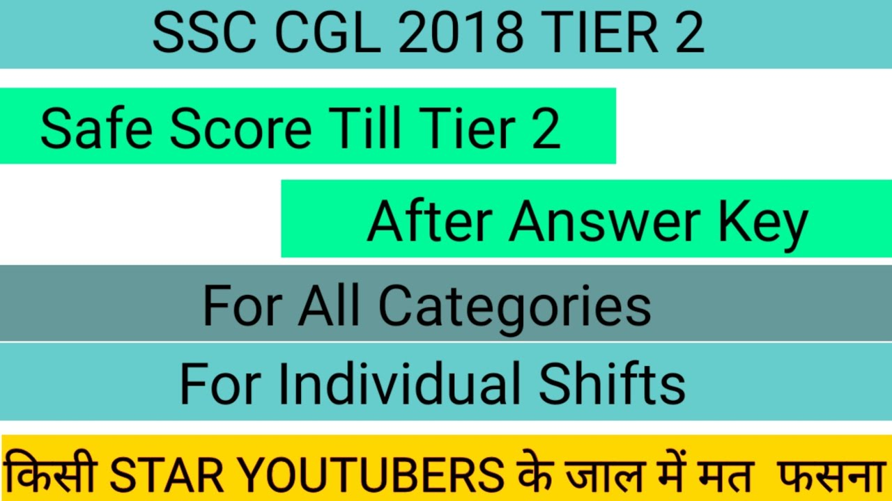 SSC CGL 2018 TIER 2 EXPECTED CUTOFF || FOR FINAL MERIT||FOR SAFE SCORE||
