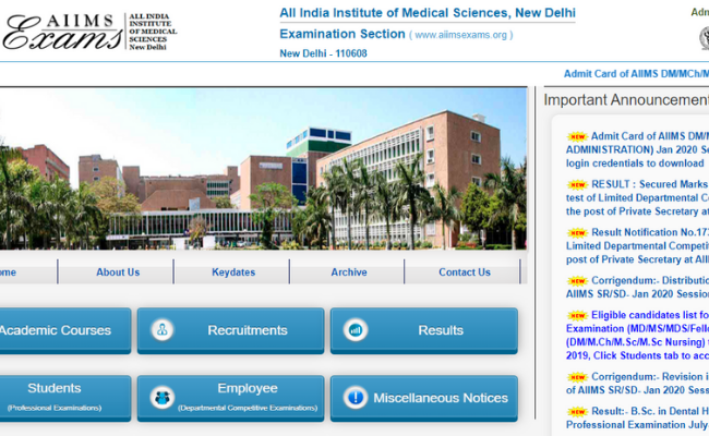 AIIMS DM or MCh or MD Jan 2020 Admit Card