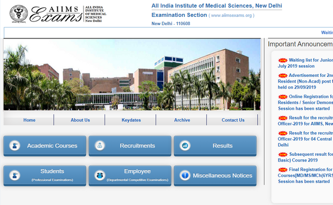 AIIMS MBBS Important Dates 2020