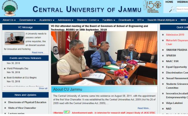 Central University Jammu Recruitment 2019