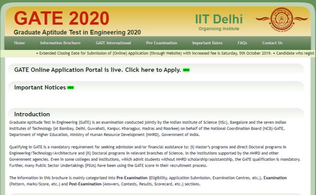 GATE 2020 Registration
