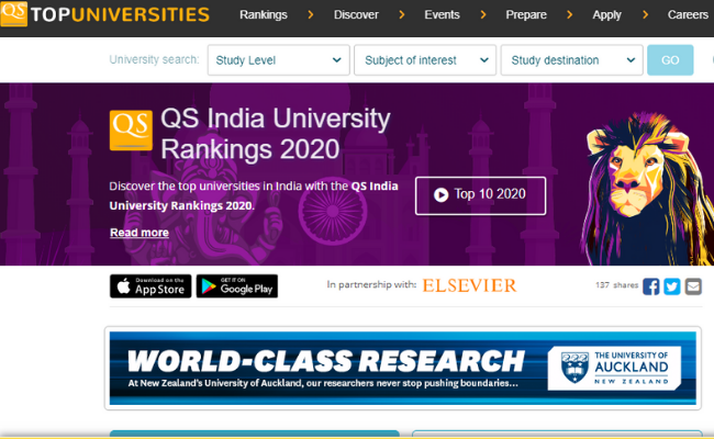 IIT Ropar at 25th Rank in QS India Rankings 2020