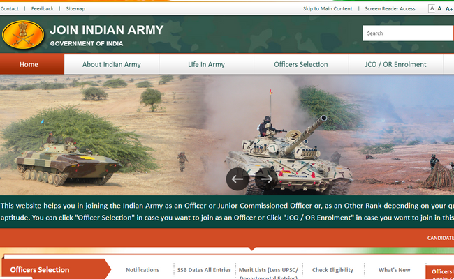 Indian Army TGC 131 and TES 43 Courses Online Application
