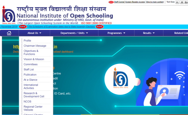 NIOS Declared the exam dates for D.El.Ed and vocational courses