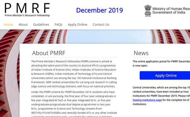 Prime Minister Research Fellowship 2019