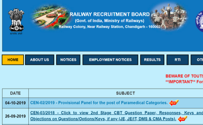 RRB JE 2019 CBT 2 Revised Answer Key