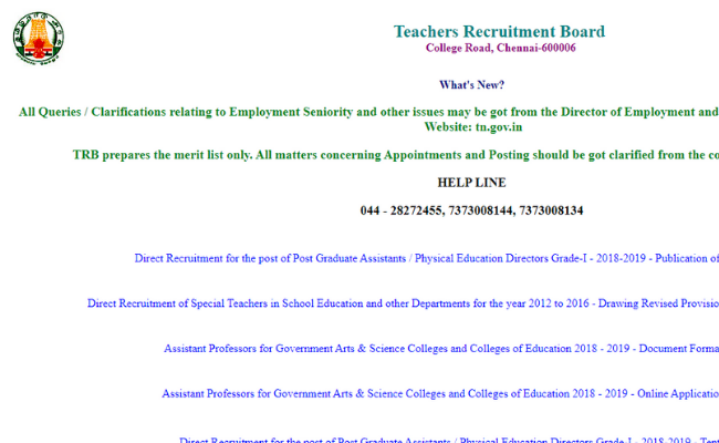TN TRB PG Assistant Results 2019 Announced