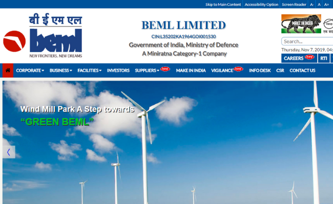 Bharat Earth Movers Limited (BEML) Recruitment 2019