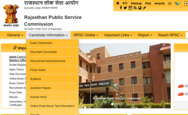 RPSC Senior Scientific Officer Answer Key