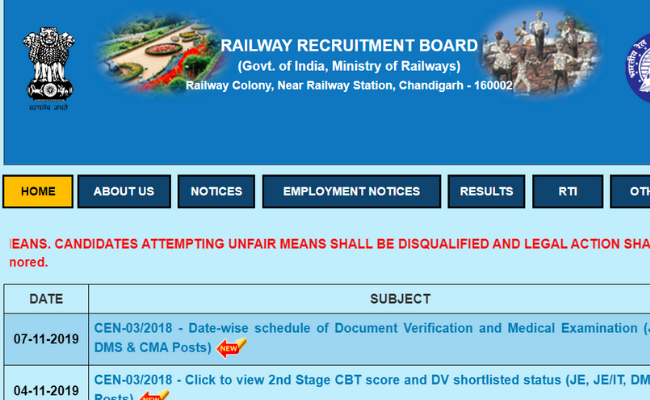 RRB JE 2019 Admit Card for Document Verification and Medical Exam