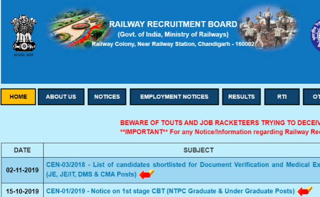 RRB NTPC and Group D 2019 Exam Date