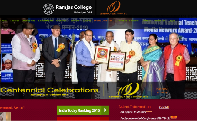 Ramjas College (Delhi University) Recruitment 2019