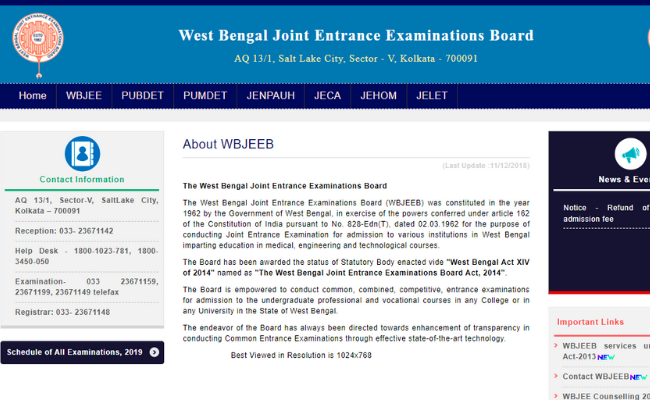 WBJEE 2020 Exam Pattern