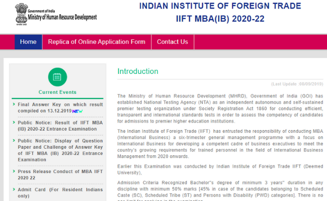 IIFT MBA Result 2020