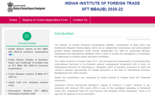 IIFT MBA results 2019
