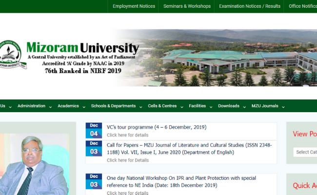 Mizoram University Recruitment 2019