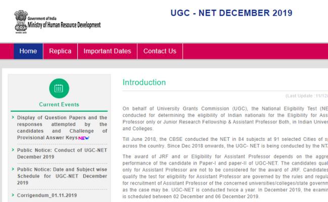 NTA UGC NET Answer Key 2019