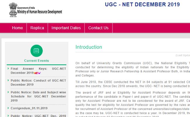 NTA UGC NET December 2019 Final Answer Key