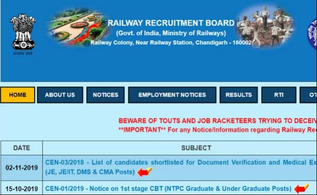 RRB NTPC Application Status 2019