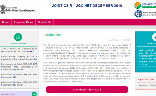 CSIR NET 2019 Final Answer Key