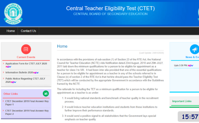 CTET Registration 2020
