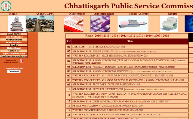 Chhattisgarh CGPSC Result 2018
