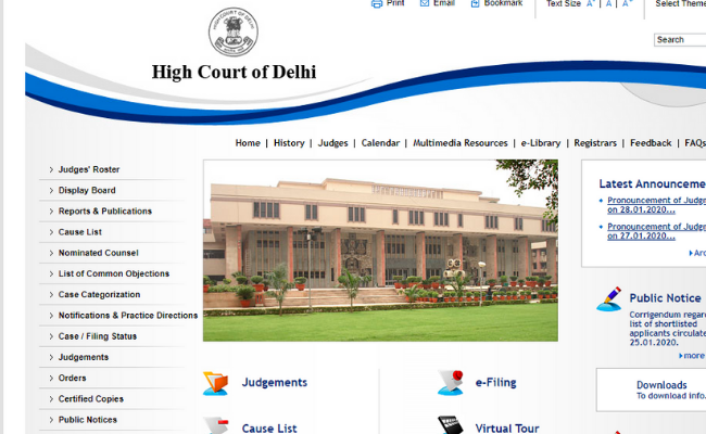 Delhi High Court HJS 2020 Admit Card