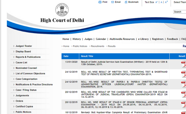 Delhi High Court Judicial Service Pre-Revised Mains Result 2020
