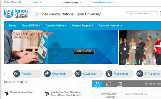 IGNOU January 2020 Admission