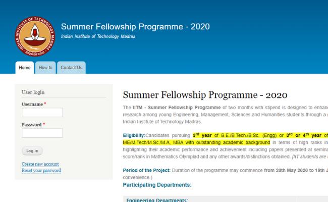 IIT Madras Summer Fellowship 2020