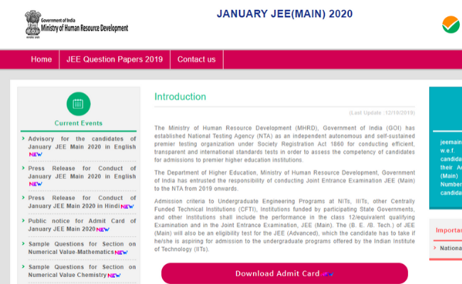JEE Main January 2020 Answer Key