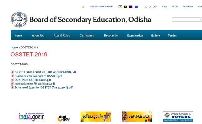 OSSTET 2019 Admit Card